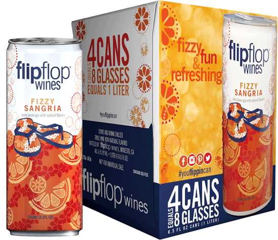 flipflop Wines Fizzy Sangria cans in a box